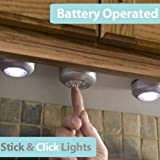 4 LED Touch Control Night Light Round Lamp Under
