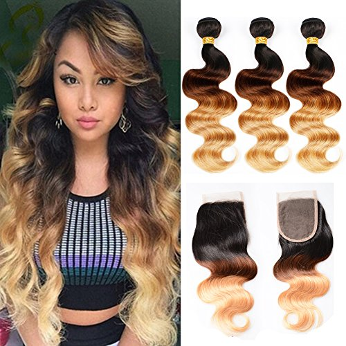 Ombre Hair 3 Bundles with Closure 8A Ombre Brazilian Body Wave Hair Bundles With Closure 1-4-27# 3 Three Color Ombre Bundles With 4X4 Free Part Lace Closure 50g/Bundle Next Day Delivery 10 10 10+10