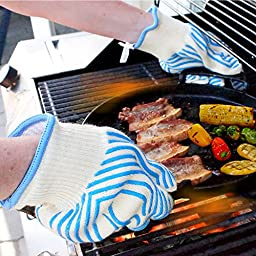 KitchenSafe Heat Resistant Gloves Set of 2 for Maximum Safety for Work Grill Oven Baking Cooking BBQ Camping Aramid fiber with Cotton Lining and Silicone strips for Firm Grip (Large - Blue)