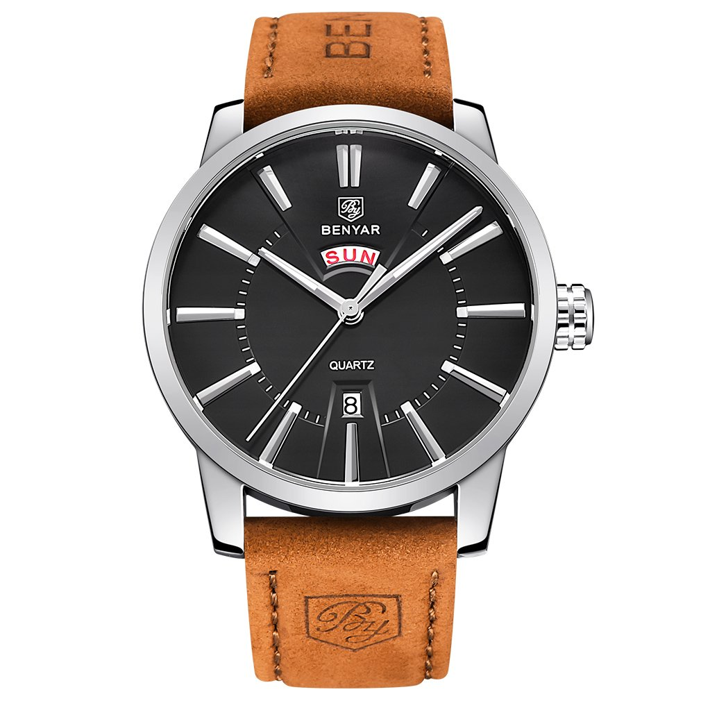 BENYAR Watches Classic Fashion Waterproof Date Business Casual Sport Leather Band Wrist Watch for Men (Black)