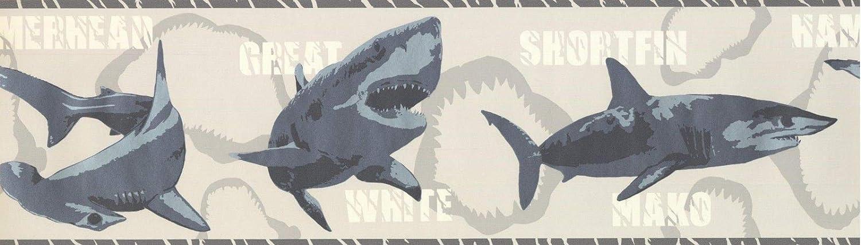 Wallpaper Border Various Shark Species Grey 7 X 15 Bt2719b Tools Home Improvement Paint Wall Treatments Supplies