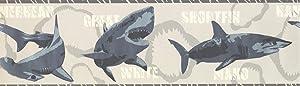 """Wallpaper Border Various Shark Species Grey 7"""" x 15' BT2719B"""