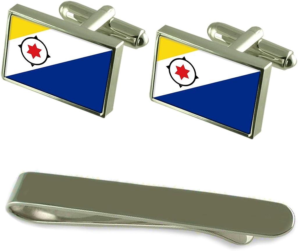 Bandera de Bonaire corbata GEMELOS PLATA Clip Box Set de regalo