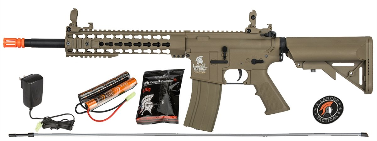 UKARMS Lancer Tactical M4 KEYMOD AEG Field Metal Gears Airsoft Gun Rifle w/ 9.6v Battery & Charger (Tan Low Velocity) by UKARMS