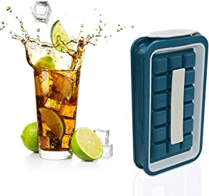 FGFGG Foldable Ice Cube Trays with Lids, Portable Ice Cube Mold Leakproof Ice Cube Tray for Chilled Drinks, Whiskey & Cocktails