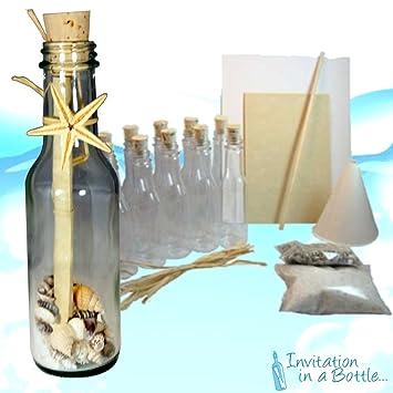 Amazon.com: 20 Beach Theme Message In A Bottle Invitations (Glass ...