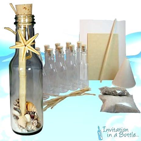 Amazon 20 Beach Theme Message In A Bottle Invitations Glass – Message in a Bottle Party Invitations