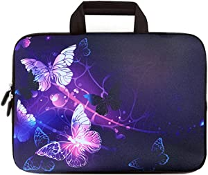 ICOLOR 14 15 15.4 15.6 Inch Laptop Handle Bag, Computer Protective Carrying Case Pouch, Soft Travel Briefcase, Notebook Sleeve Cover for Dell HP Lenovo Toshiba Chromebook ASUS Acer(Purple Butterflies)