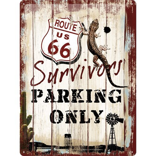 Nostalgic Art  Tin Sign US Highways Route 66 Survivors Parking Only Nostalgic Art