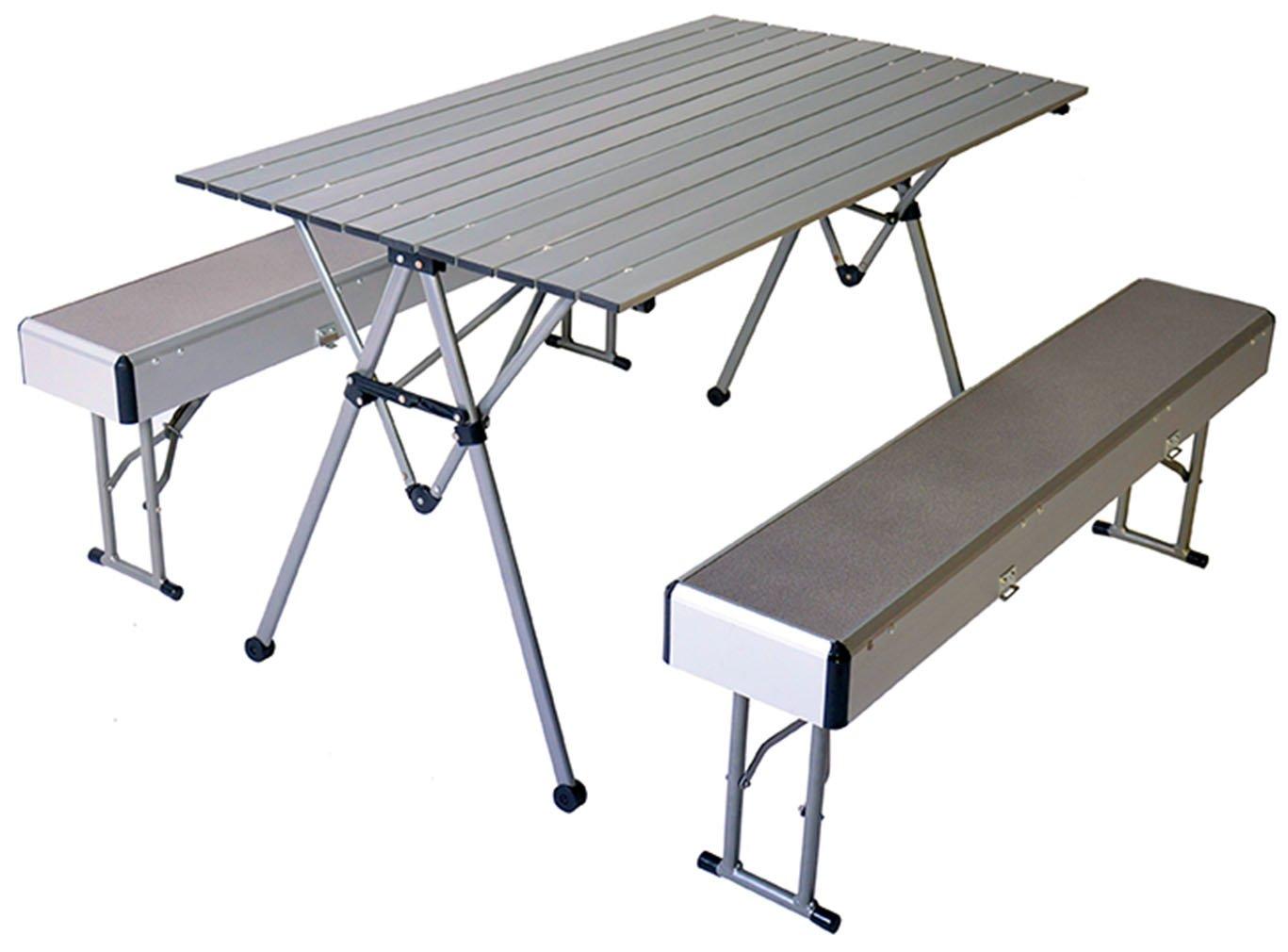 Connex Warenhandel Camping Tisch Neu Klapptisch mit 2 Bänken Aluminium Stuhl Garnitur