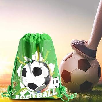 EqWong 12 Piezas de Fiesta de fútbol Favor Bolsas de Regalos, Regalo de Regalo Mochila con cordón de fútbol Suministros de decoración de cumpleaños ...