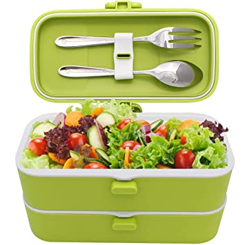 Veggycook Fiambrera lunch box 100% Hermética 1200ml sin bpa cubiertos de acero inoxidable incluidos