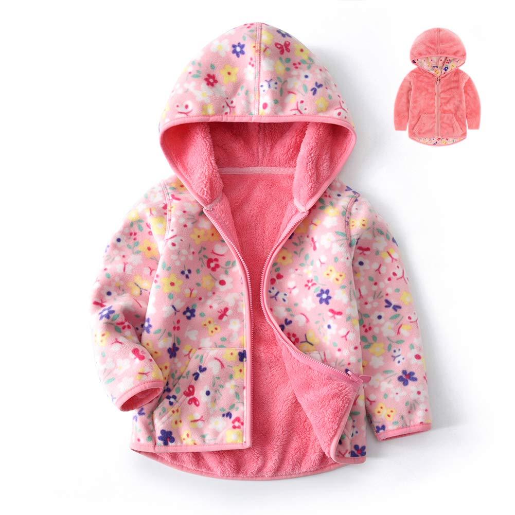 Feidoog Toddler Polar Fleece Jacket HoodedBaby Boys Girls Autumn Winter Long Sleeve Thick Warm Outerwear,Pink,3-4T by Feidoog