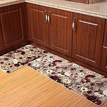 Amazon.com: Ustide 2-Piece Rustic Flower Kitchen Rug Set Super Soft ...