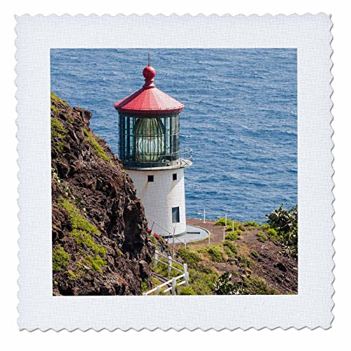 3dRose Danita Delimont - Lighthouses - Makapuu Point Lighthouse, Oahu, Hawaii. - 16x16 inch quilt square (qs_259217_6) by 3dRose