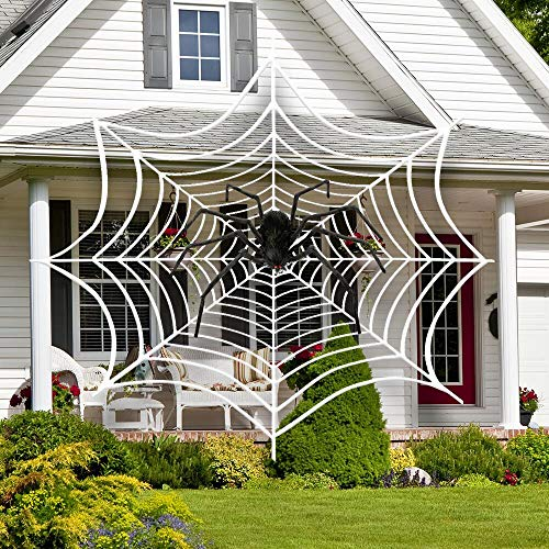 16 Ft Spider Web with 5Ft Giant Spider, Halloween Decorations Spider Webbing Giant Hairy Spider Scary Spooky Halloween Props for Haunted House Indoor Outdoor Yard Decor - Round -