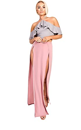 907119558 Ikrush Womens Lovato Double Thigh High Split Maxi Skirt Rose UK 14 ...