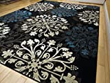 Premium Large Black Modern Rugs Multi-Color Floral Carpet, 8×11 For Sale