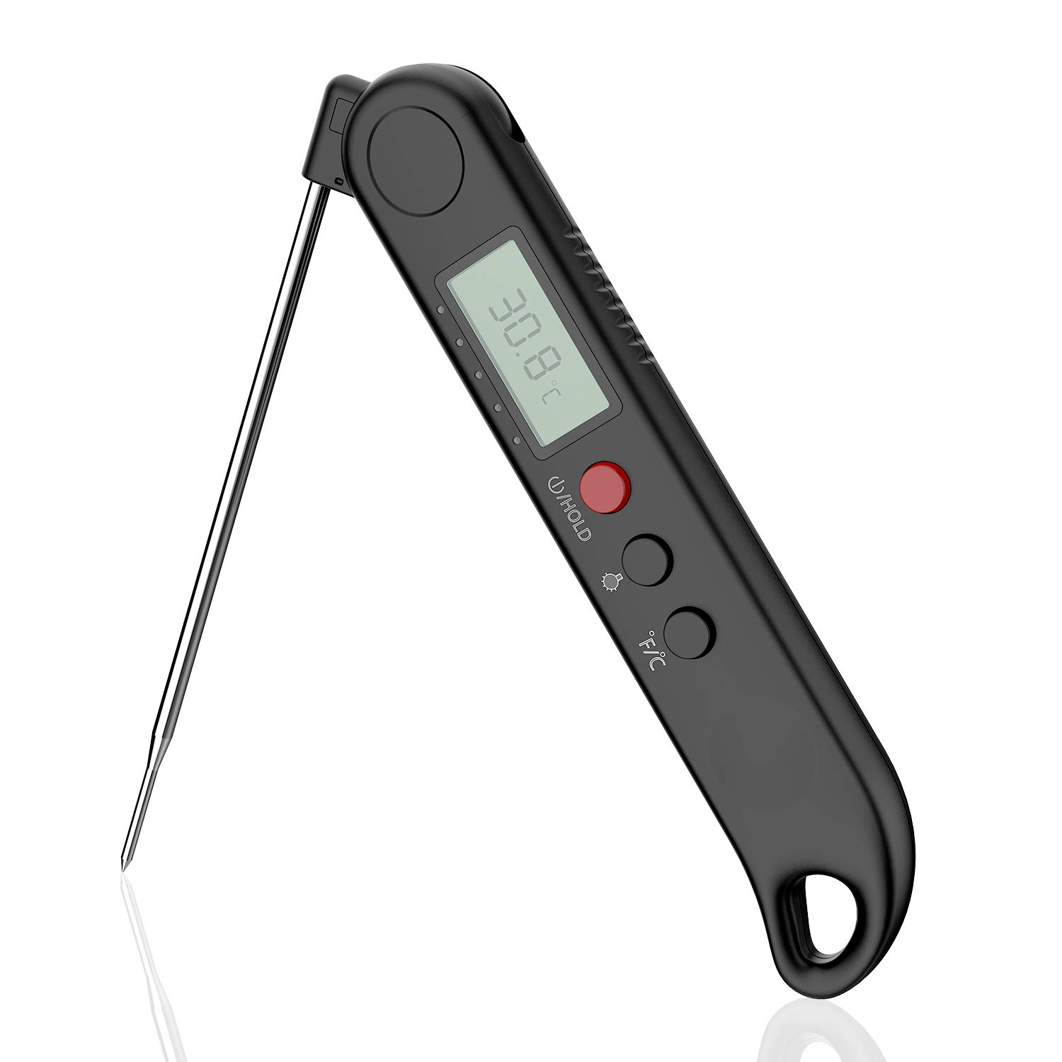 Nogis Waterproof Instant Read Meat Thermometer Digital Food Cooking Thermometer Built in Rechargeable Lithium Battery, Anti Corrosion Foldable Probe Kitchen, BBQ, Grill, Milk Bath Water (Black)