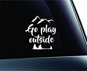 CCI Go Play Outside Wanderlust Decal Vinyl Sticker|Cars Trucks Vans Walls Laptop| White |5 x 5.5 in|CCI958