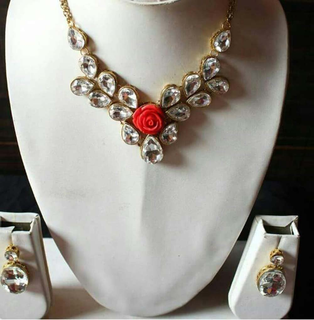 Bollywood Style Women Party Wear Kundan Earring Necklace Set
