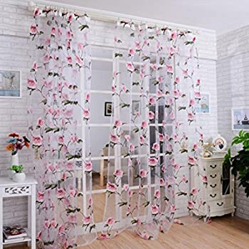 DZT1968R 1PC White Printed Flower Lace Chiffon Tulle Sheer Window Treatments Door Screen Curtain
