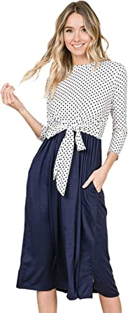 iconic luxe Women's Polka Dot Contrast Midi Dress with Tie