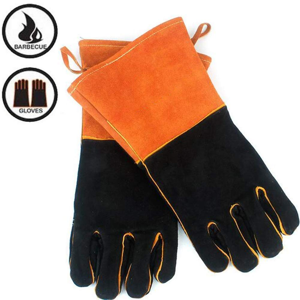 IRVING Outdoor BBQ gloves camping fire barbecue high temperature insulation thickening long welding protective gloves leather by IRVING