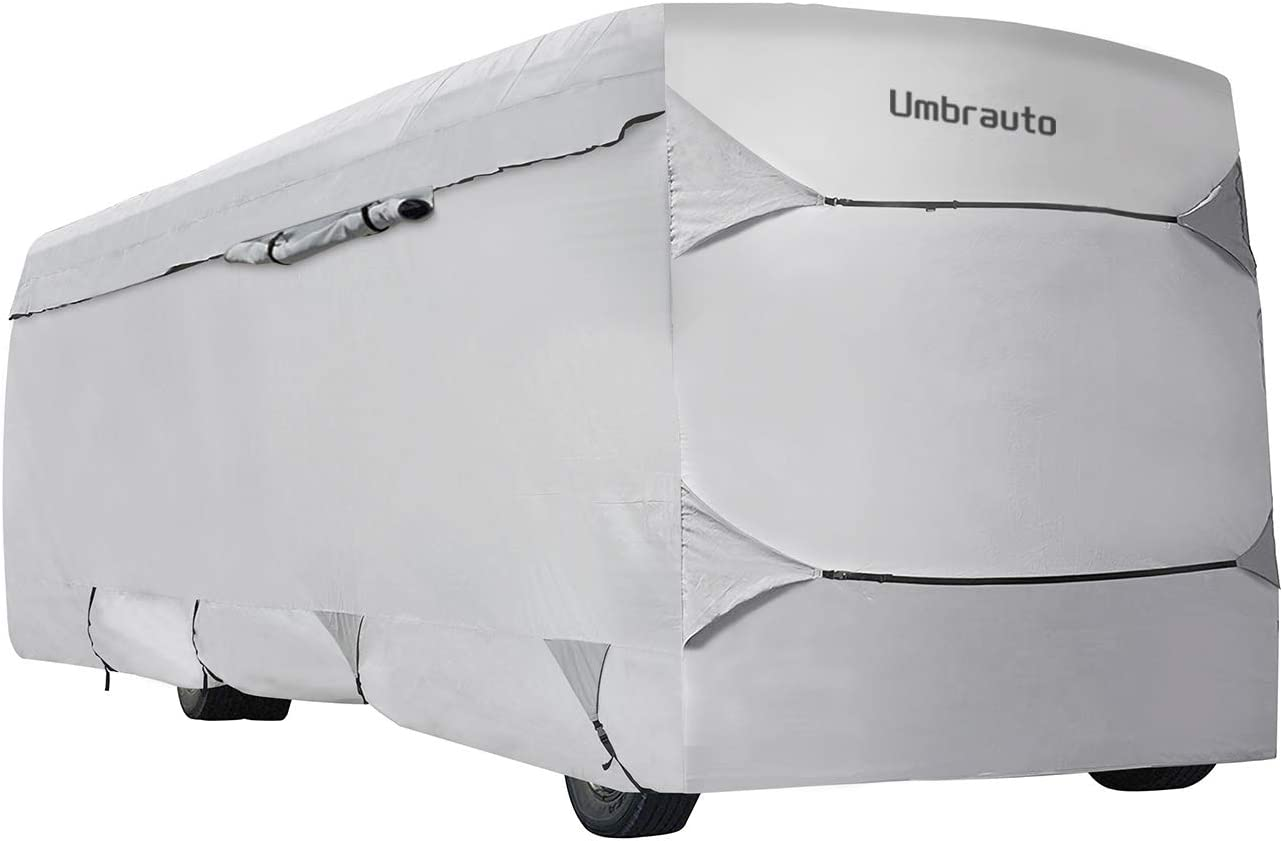 Umbrauto Class A RV Cover Thick 3 Layers Polypro Anti-UV Camper Cover Fits 37-40Ft Motorhome Breathable Waterproof Quick Drying, Grey