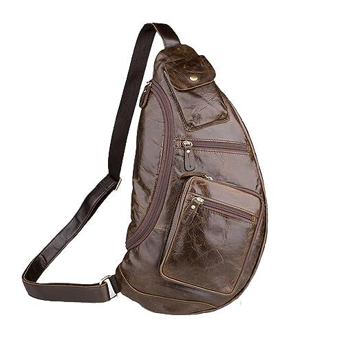Hombres Daypack Mochilas de Cuero, Bolso, Bandolera, Hombro, Espalda Cruzada, Mochila para Hombres Casual Sport Hiking Travel: Amazon.es: Zapatos y ...