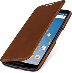 StilGut® Book Type Case - Senza Magnete -, Custodia in Vera Pelle a Libro per Google Nexus 6 e Motorola Nexus 6, Cognac