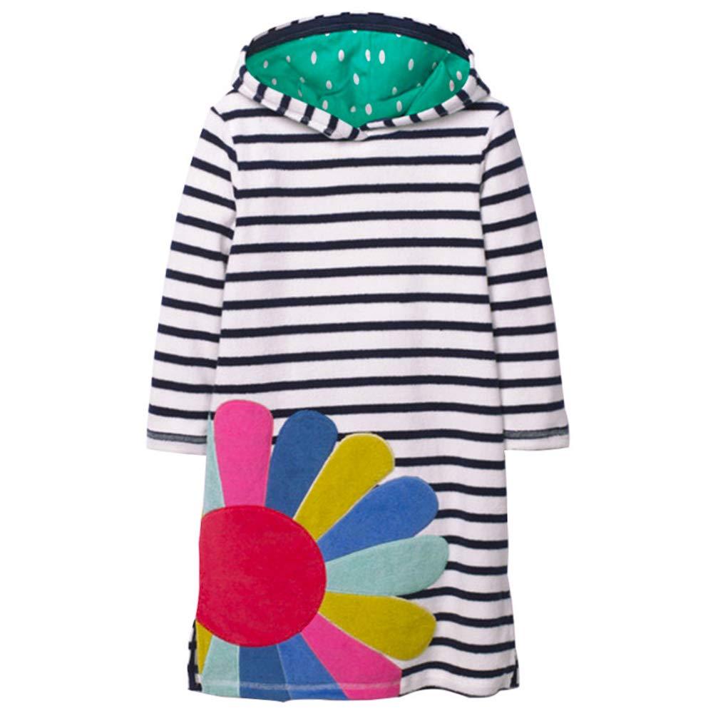 VIKITA 2018 Toddler Girl Dresses Long Sleeve Sunflower Hoodies for Girls 3-8 Years SMK035, 6T
