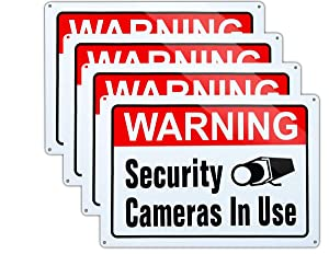Video Surveillance in Use Sign,Warning Security Cameras in use Sign,Large 10x14 Inch Aluminum UV Ink Printed for House and Business (4-Pack)…
