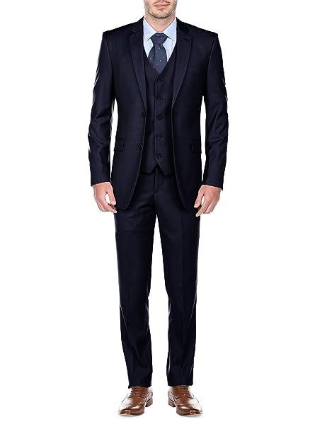 Amazon.com: Fino Uomo para hombre Slim Fit traje de 3 piezas ...