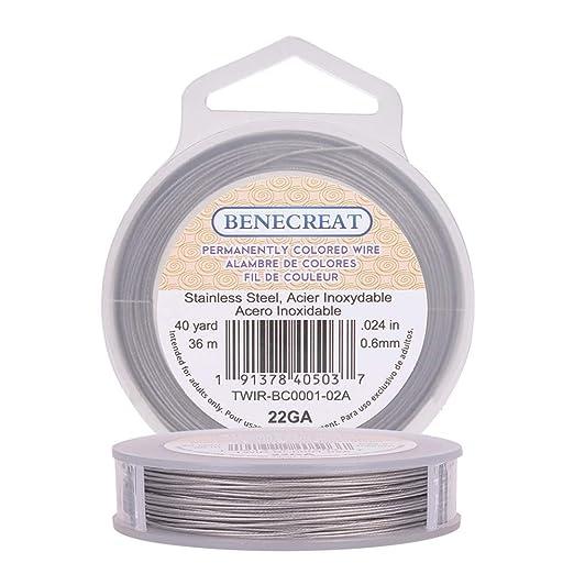BENECREAT 36m 0.6mm Alambre de Acero Inoxidable Cable Metálico Trenzado por 7 Hilos Accesorios de Manualidad para Diseño de Bisutería