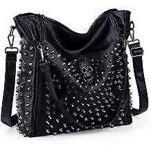 UTO Women Handbag PU Leather Skull Tote Crossbody Shoulder Bag with Wristlet Wallet Black