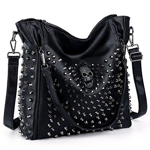 UTO Women Handbag PU Leather Skull Tote Crossbody Shoulder Bag with Wristlet Wallet Black (Skull Gothic Bag)