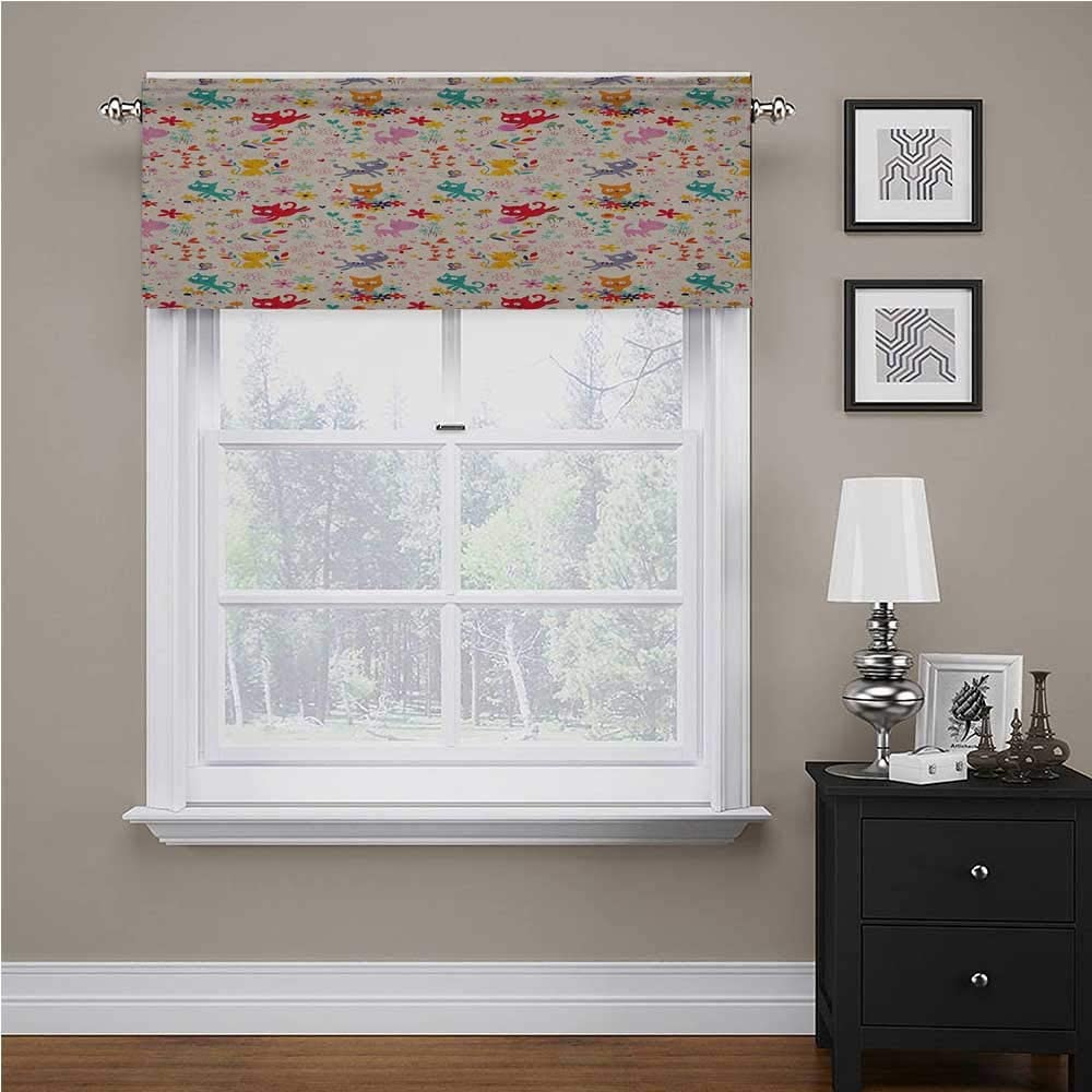 "Interestlee Kitten Solid Blackout Valance Playful Happy Kittens Chasing Butterflies and Wool Balls Among Colorful Flowers for Living Room Bedroom Multicolor, 54"" x 12"""