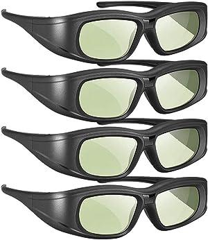 Elikliv Active Shutter 3D Glasses Compatible with Sony Panasonic Samsung 3D TVs, Rechargeable Bluetooth 3D Glasses Compatible with Epson 3D Projector, TDG-BT500A TDG-BT400A TY-ER3D5MA (Pack 4)