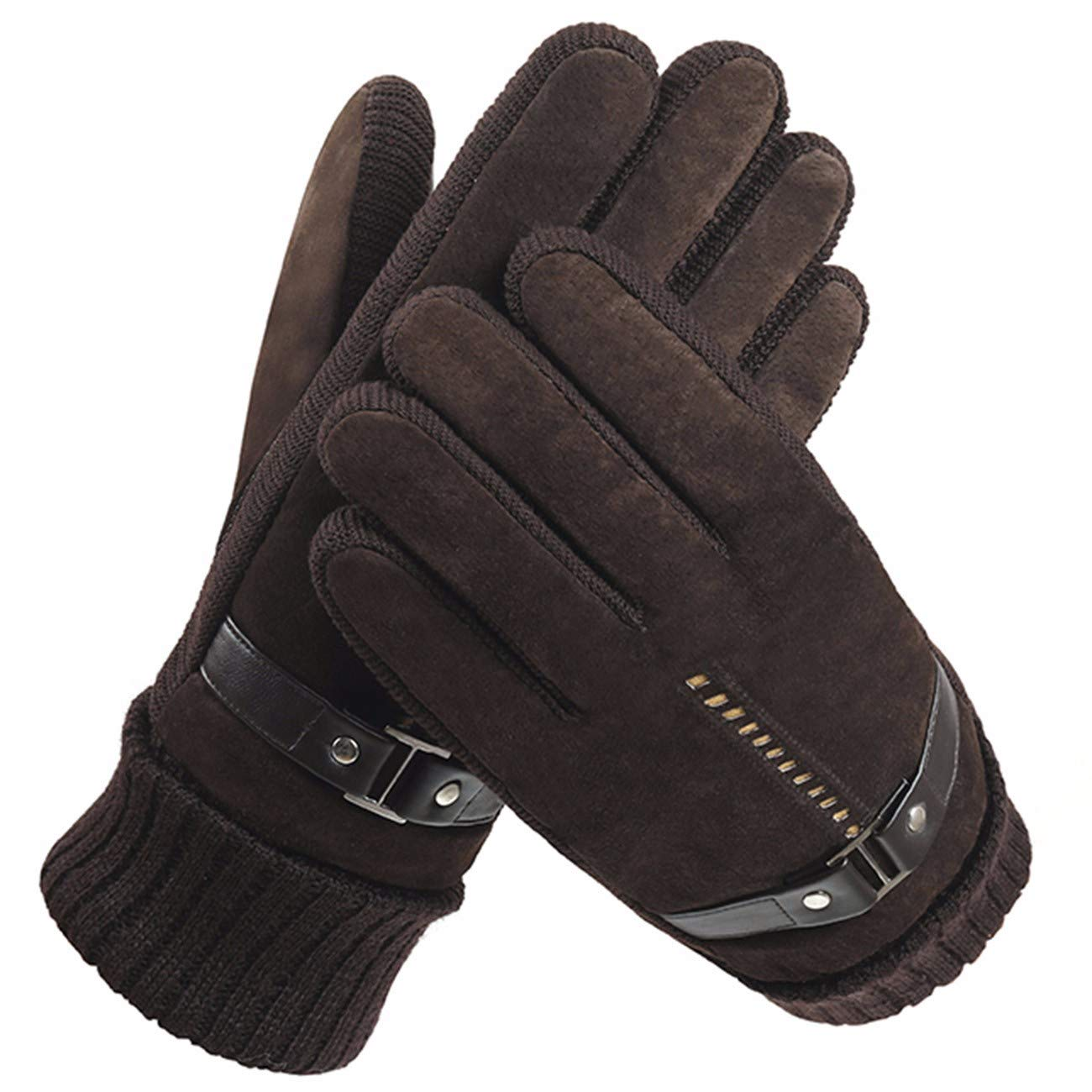 Gloves Mens Winter Warming and Thickening Furry Gloves Windbreak and Cold-Proof Riding Gloves