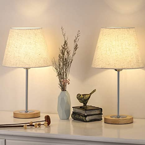 Nightstand Table Lamp for Bedroom, Small Wood Desk Lamps Set of 2, Modern  Bedside Lamp with Linen Shade for Dressers, Coffee Table, Nursery,  Bookcase, ...