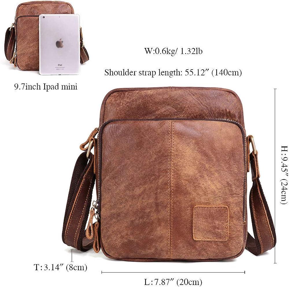 Bagspace Mens Original Nubuck Leather Messenger Bag 13 Inc Brown Vintage Style