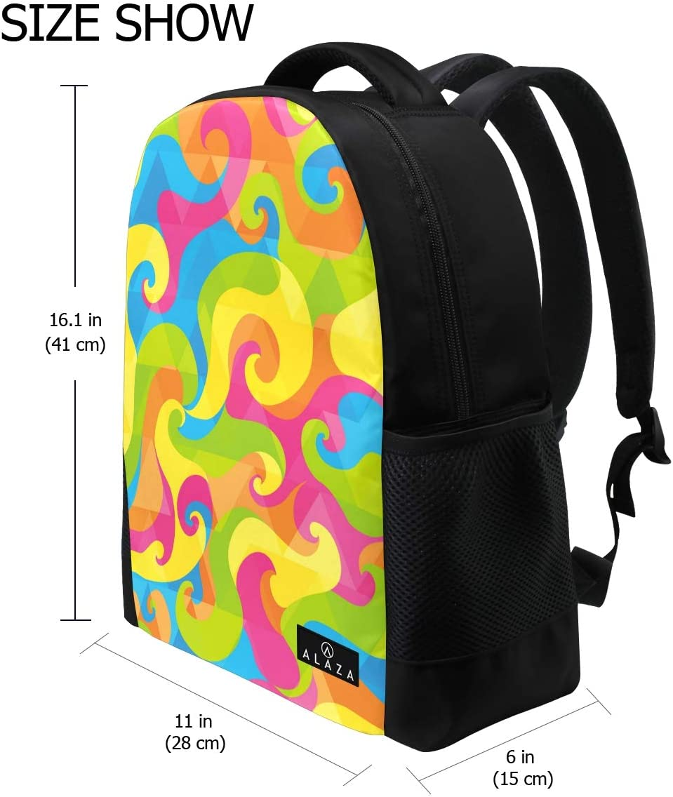 My Daily Colorful Abstract Psychedelic Pattern Backpack 14 Inch Laptop Daypack Bookbag for Travel College School