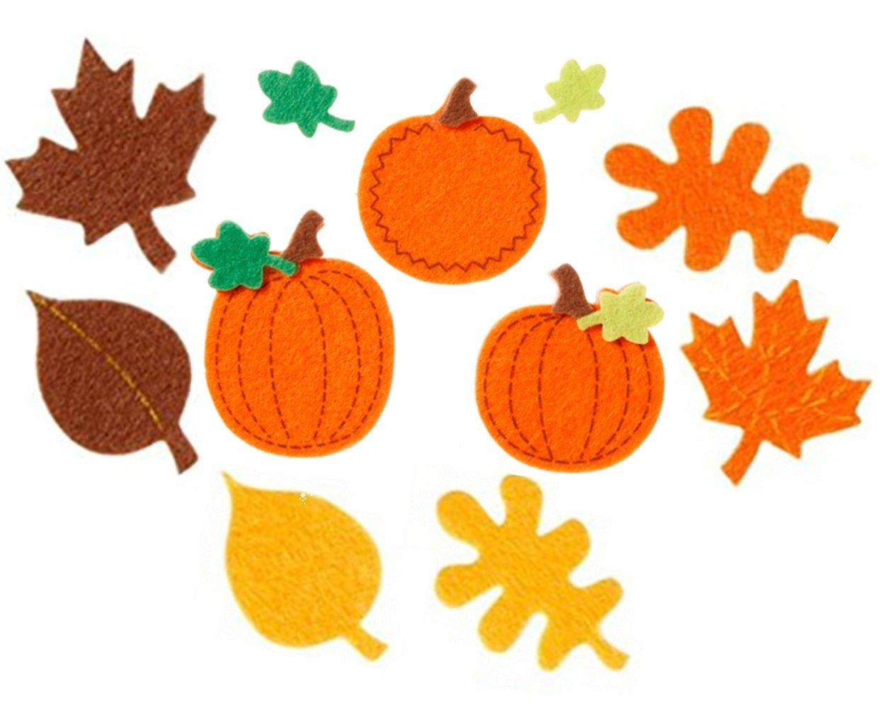 Nikki's Knick Knacks 90 Piece Autumn/Fall Felt Sticker Pumpkins & Leaves