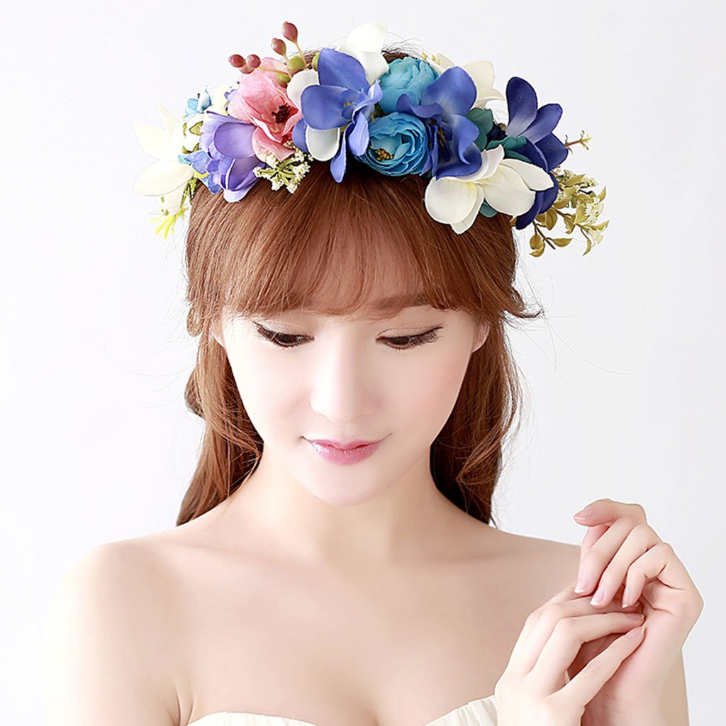 Wreath Flower, Headband Flower Garland Handmade Wedding Bride Party Ribbon Headband Wristband Hairband (Color : A)