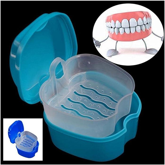 Denture Bath Box Case Dental False Teeth Storage Box with Hanging Net  Container