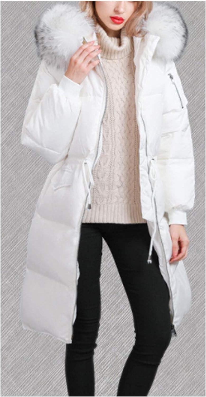 SHETAO Womens Drawstring Waist Large Fur Collar Down Jacket