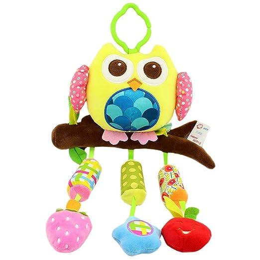Happy Cherry Muñeca Sonajero Sonaja Colgante Juguete Juego Educativo Peluche de Animales Infantil para Bebés Recién Nacidos Niños Niñas Carrito ...