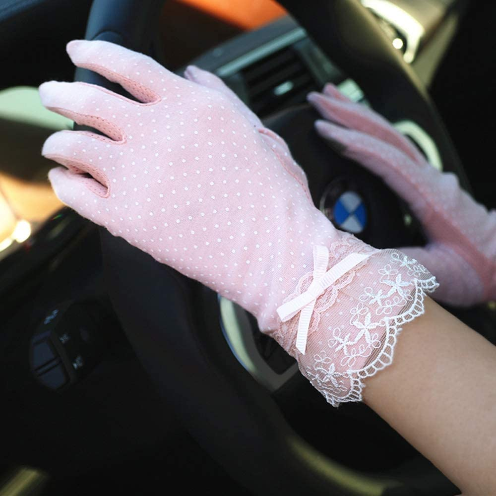 Swftc Frauen-Sommer-Fahrlichtschutzhandschuh Frau Anti-Rutsch-Thin Section Reiten Au/ßen F/äustling Radfahren Touch Screen Spitzenhandschuhe Anti-UV-Breath Fahrer-Handschuhe Color : Black