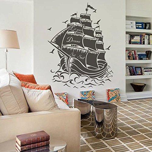 (Pirate Ship Nautical Sea Wall Decal Sail Boat Ocean Wall Sticker Wall Mural Vinyl Home Art Decor Black)